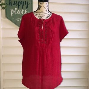 Liz Claiborne Red Flowy Short Sleeve Blouse XL